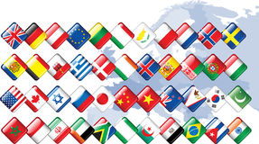 Set of flags. Glossy buttons Stock Photo