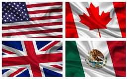 Set of flags. Illustrated set of American, United Kingdom, Canadian and Mexican flag blowing in wind; isolated on white background Royalty Free Stock Images