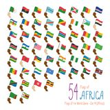 Set of 54 flags of Africa. Hand raising the national flags of 54 countries of Africa. stock illustration