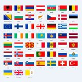 Set of flags of all countries of Europe. Rectangle glossy style. Royalty Free Stock Photo