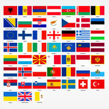 Set of flags of all countries of Europe Stock Photo