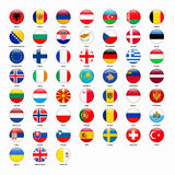 Set of flags of all countries of Europe Stock Photography