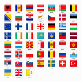 Set of flags of all countries of Europe Stock Photos