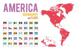Set of 35 flags of America isolated on white background and map of America. With countries situated on it royalty free illustration