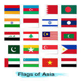Set of flags Asia Stock Image