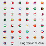 Set of flags Asia Royalty Free Stock Images