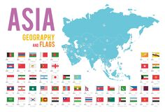 Set of 51 flags of Asia isolated on white background and map of Asia. With countries situated on it royalty free illustration