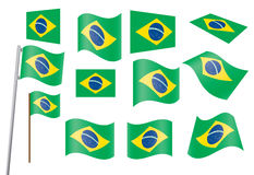 Set of flags of Brazil. Vector illustration Royalty Free Stock Photos