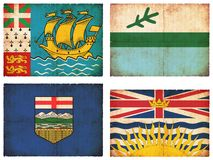 Set of flags from Canada. (Saint-Pierre and Miquelon, Labrador, Alberta, British Columbia Stock Images