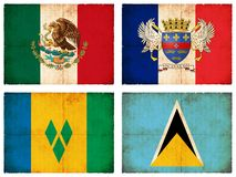 Set of flags from Central America #1 Royalty Free Stock Images