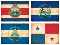 Set of flags from Central America  Stock Image