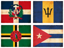 Set of flags from Central America  Royalty Free Stock Photos