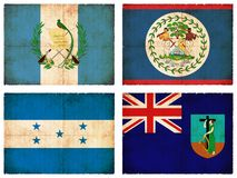 Set of flags from Central America  Stock Photo