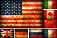 Set of flags countries. Set of flags of the different countries on the old burnt material Royalty Free Stock Photos