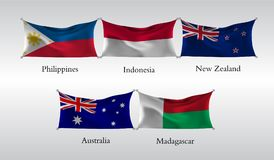 Set Flags of Countries of the Pacific and Indian Ocean. Waving flag of Philippines, Indonesia, New Zeland, Australia, Madagascar. vector illustration