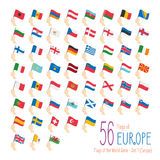 Set of 56 flags of Europe. Hand raising the national flags of 56 countries in Europe. Icon set Royalty Free Stock Image