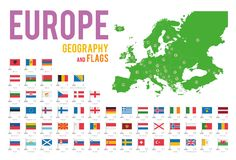 Set of 56 flags of Europe isolated on white background and map of Europe. With countries situated on it vector illustration