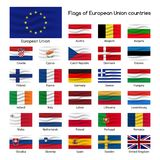 Set the flags of European Union countries, member states of EU. Vector illustration isolated on white background Stock Images