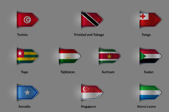 Set of flags in the form of a glossy textured label or bookmark. Royalty Free Stock Photos