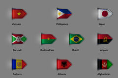 Set of flags in the form of a glossy textured label or bookmark. Vietnam Philippines Japan Burundi Burkina Faso Brazil Angola  Stock Photos