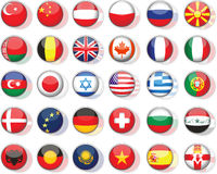 Set of flags. Glossy buttons. All elements and textures are individual objects. Vector illustration scale to any size Stock Images