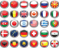 Set of flags. Glossy buttons. All elements and textures are individual objects. Vector illustration scale to any size Royalty Free Stock Photo