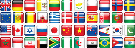 Set of flags. Glossy buttons. Royalty Free Stock Images