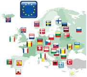 Set of flags. Glossy buttons. Royalty Free Stock Photography
