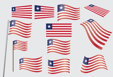 Set of flags of Liberia Royalty Free Stock Photo