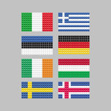 Set of flags made up of squares Stock Image
