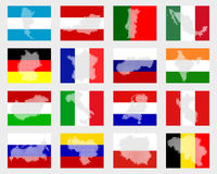Set of flags with maps Royalty Free Stock Image
