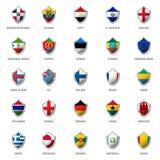 Set of flags on metal shiny shield  illustration. Stock Photo