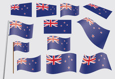 Set of flags of New Zealand Stock Photography