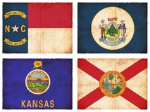 Set of flags from North America #7. Set of flags from North America (North Carolina, Maine, Kansas, Florida Stock Images