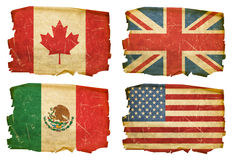 Set Flags old #1. Set Flags old, isolated on white background. Canada,USA,Mexico,UK Stock Photos