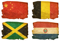 Set Flags old # 10. Set Flags old, isolated on white background. Paraguay, Jamaica, Belgium, China Royalty Free Stock Photos