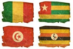 Set Flags old # 16. Set Flags old, isolated on white background. Mali, Togo, Tunisia, Uganda Royalty Free Stock Photos