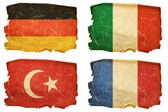 Set Flags old #2. Set Flags old, isolated on white background. Turkey, Germany, Italy,france royalty free stock image