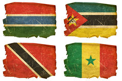 Set Flags old # 22. Set Flags old, isolated on white background. Gambia, Mozambican, Trinidad and Tobago, Senegal Stock Photos