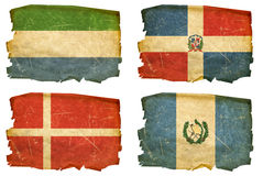 Set Flags old # 23. Set Flags old, isolated on white background.  Sierra Leone, Dominican Republic, Denmark, Guatemala Stock Photos