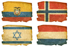 Set Flags old # 24. Set Flags old, isolated on white background. Ecuador, Norway,  Israel, Holland Royalty Free Stock Photography