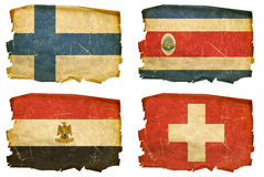 Set Flags old # 26. Set Flags old, isolated on white background. Finland, Costa Rica, Egypt, Switzerland Royalty Free Stock Photo