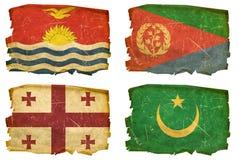 Set Flags old # 30. Set Flags old, isolated on white background. Kiribati, Eritrea, Georgia, Mauritania Royalty Free Stock Photography