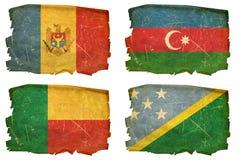 Set Flags old # 31. Set Flags old, isolated on white background. Solomon Islands,Moldova,Azerbaijan,Benin Royalty Free Stock Photo