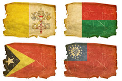 Set Flags old # 33. Set Flags old, isolated on white background. Vatican, Madagascar, East Timor, Myanmar Stock Image