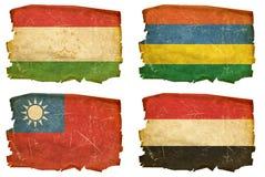 Set Flags old # 38. Set Flags old, isolated on white background. Tajikistan, Mauritius, Taiwan, Yemeni Royalty Free Stock Photography
