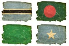 Set Flags old # 40. Set Flags old, isolated on white background. Botswana, Bangladesh,Libyan,Somali Royalty Free Stock Photo