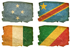 Set Flags old # 41. Set Flags old, isolated on white background. Micronesia, DR Congo, Ivory Coast, Republic of the Congo Flag Stock Photos