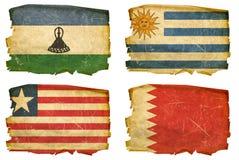 Set Flags old # 42. Set Flags old, isolated on white background. Lesotho, Uruguaian, Liberian, Bahraini Royalty Free Stock Photos