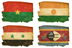 Set Flags old # 44. Set Flags old, isolated on white background. Burkina Faso, Nigerian, Syrian,Swaziland Royalty Free Stock Image